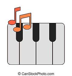 stile, pianoforte, strumento, linea, icona, musicale, tastiera, riempire