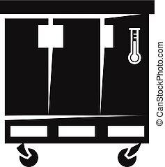 stile, porta, semplice, tre, icona, frigorifero