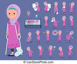 stile, ragazza, hijab, arabo, malattia, appartamento, tipo