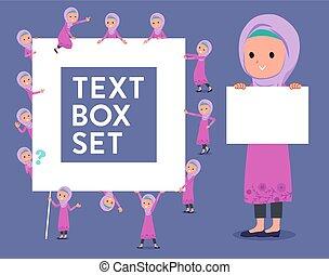 stile, ragazza, hijab, testo, arabo, scatola, tipo, appartamento