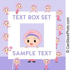 stile, ragazza, hijab, testo, arabo, scatola