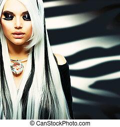 stile, ragazza, moda, bellezza, nero, bianco