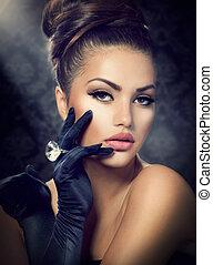 stile, ragazza, moda, bellezza, portrait., il portare, guanti, vendemmia