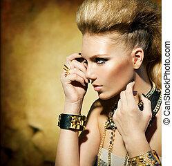 stile, ragazza, moda, portrait., toned, modello, sepia, sedia dondolo