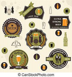 stile, retro, disegno, birra, etichette, tesserati magnetici