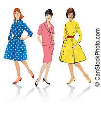 stile, retro, donne, -, set, elegante