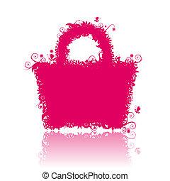 stile, sacchetto spesa, silhouette., anche, vedere, immagini, mio, galleria, floreale