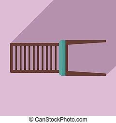 stile, sedia, mobilia, esterno, appartamento, icona