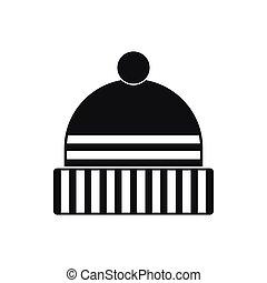 stile, semplice, berretto, lavorato maglia, nero, icona