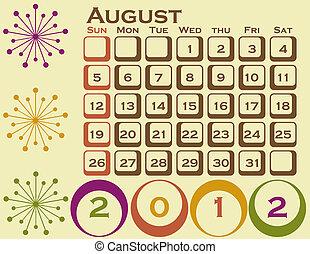 stile, set, agosto, 1, retro, calendario, 2012