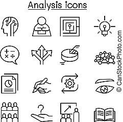stile, set, analisi, linea sottile, icona