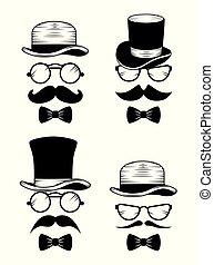 stile, set, cappello, baffi, occhiali