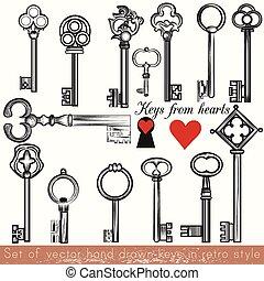 stile, set, chiavi, vendemmia, collezione, mano, vettore, disegnato