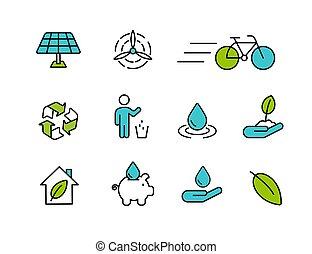 stile, set, contorno, natura, verde, icona, cura
