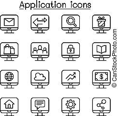 stile, set, domanda, computer, linea sottile, icona