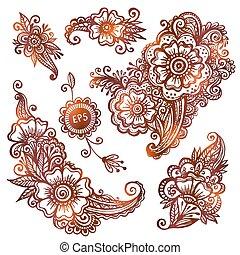 stile, set, hand-drawn, indiano, ornamenti, mehndi