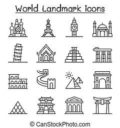 stile, set, magro, punto di riferimento, mondo, linea, icona