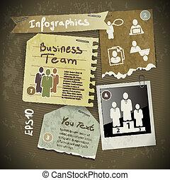 stile, set, scrapbooking, vendemmia, strappato, polaroid, pezzi, carta, infographics, foto