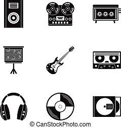 stile, set, semplice, roba, musica, icona