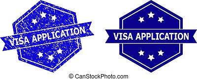 stile, sigillo, visto, variante, francobollo, corroso, esagonale, pulito, domanda
