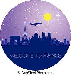 stile, silhouette, francia, forma, punto di riferimento, cerchio