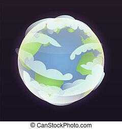 stile, spazio, isometrico, pianeta, icona, terra