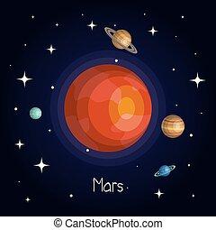 stile, spazio, pianeta, stelle, baluginante, cartone animato