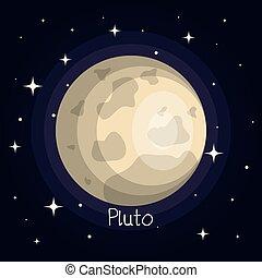 stile, spazio, plutone, pianeta, stelle, baluginante, cartone animato
