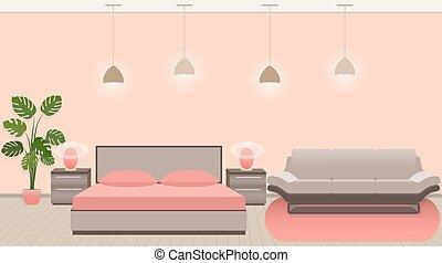 stile, stanza moderna, albergo, illuminazione, lusso, interno, mobilia