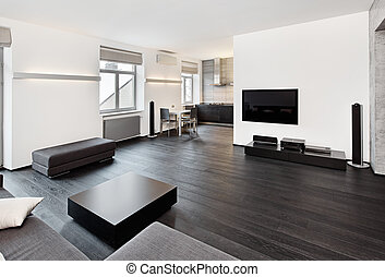 stile, stanza, seduta, moderno, minimalismo, nero, toni, interno, bianco