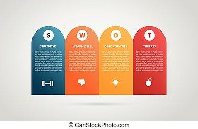 stile, strengths, infographic, grafico, appartamento, variazione, colorare, debolezze, grafico, 4, vettore, moderno, opportunità, minacce, swot, -