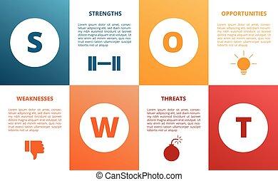 stile, swot, vettore, icona, rettangolo, forza, moderno, opportunità, minaccia, debolezza, forma, presentazione, concetto, diagramma