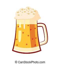 stile, tazza, vetro, birra, icona, cartone animato