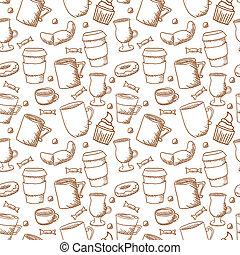 stile, tazze, scarabocchiare, seamless, sketchy, vettore, caffè, fondo, campanelle