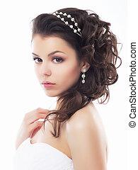stile, trucco, fiancee., -, giovane, gentile, matrimonio, coiffure