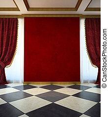 stile, unfurnished, stanza, rosso, classico