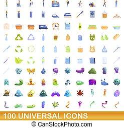 stile, universale, set, icone, cartone animato, 100