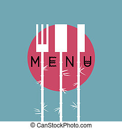 stile, variazione, -, 4, elegante, menu, disegno, asiatico, ristorante