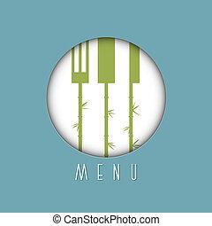 stile, variazione, -, 6, elegante, menu, disegno, asiatico, ristorante