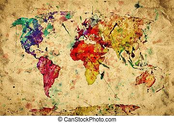 stile, vecchio, colorito, vendemmia, paper., map., grunge, retro, vernice, acquarello, mondo, espressione