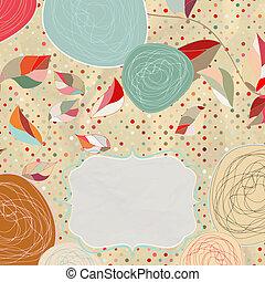stile, vendemmia, eps, flowers., fondo, 8