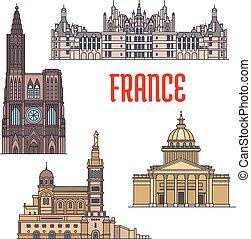stile, viaggiare, viste, francese, linea sottile, icona
