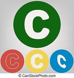 stili, cerchi, c, colorato, grigio, luce, segno, fondo., vector., disegno, 4, lettera, bianco, icona, element., sagoma
