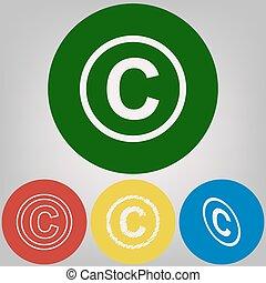 stili, cerchi, colorato, copyright, grigio, luce, segno, fondo., 4, vector., bianco, icona, illustration.