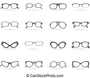 stili, differente, occhiali