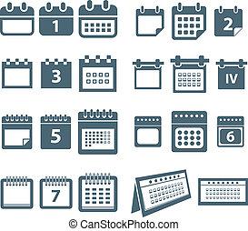 stili, web, differente, icone, collezione, calendario