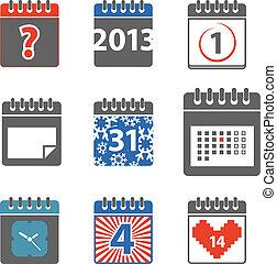 stili, web, differente, icone, colorare, collezione, calendario