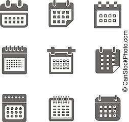 stili, web, differente, icone, isolato, collezione, calendario, bianco