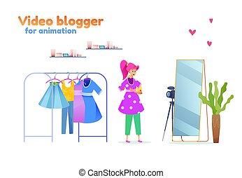 stilista, blogger, moda, vettore, ragazza, giovane, equipaggiamento