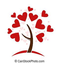 stilizzato, albero, fatto, cuori amore